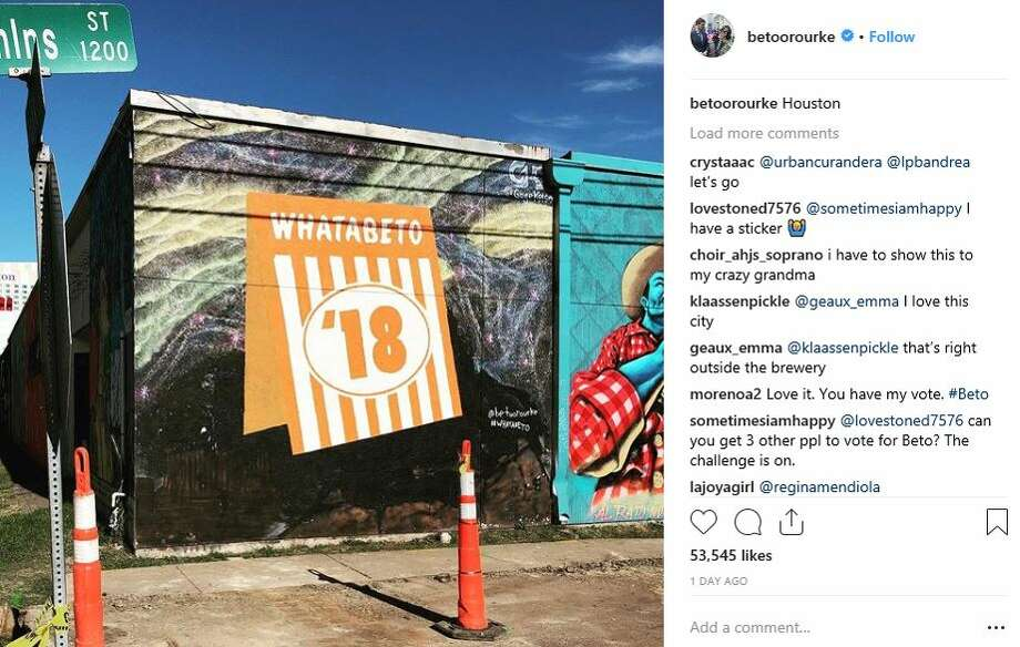 A Whataburger mural, created in tribute to Beto O'Rourke and his love of the fast food chain, popped up in East Downtown. Photo: Instagram