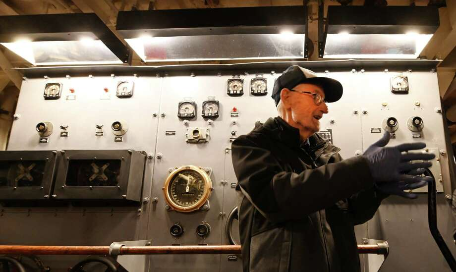 93 year old Earl Laber returned from his home in Vermont to check out the controls of the USS Slater which he served on Friday Oct.12, 2018 in Albany, N.Y. (Skip Dickstein/Times Union) Photo: SKIP DICKSTEIN, Albany Times Union / 20045123A
