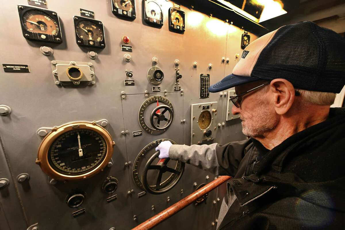 93 year old Earl Laber returned from his home in Vermont to check out the controls of the USS Slater which he served on Friday Oct.12, 2018 in Albany, N.Y. (Skip Dickstein/Times Union)