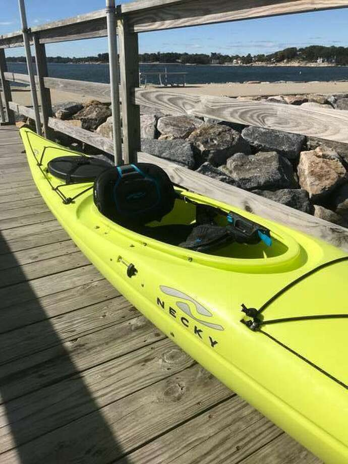 The Coast Guard is seeking information about this kayak found off Norwalk. Photo: Contributed / U.S. Coast Guard