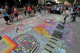 Chalk It Up: Artpace's annual street fair, marks its 15th anniversary Saturday. (The 2016 edition is pictured.) The event includes murals created by artists as well as the opportunity for regular Joes and Janes to put their own chalky stamp on Houston Street and Main Avenue. There also will be live music, food trucks and other activities. Those who want to get an aerial view of the sidewalk art might want to invest in a ticket to the VIP Lounge on the Artpace roof. 10 a.m. to 4 p.m. Saturday. Houston Street and Main Avenue downtown. Free. VIP lounge: $40 to $50, artpace.org. Info, 210-212-4900; artpace.org. - Deborah Martin