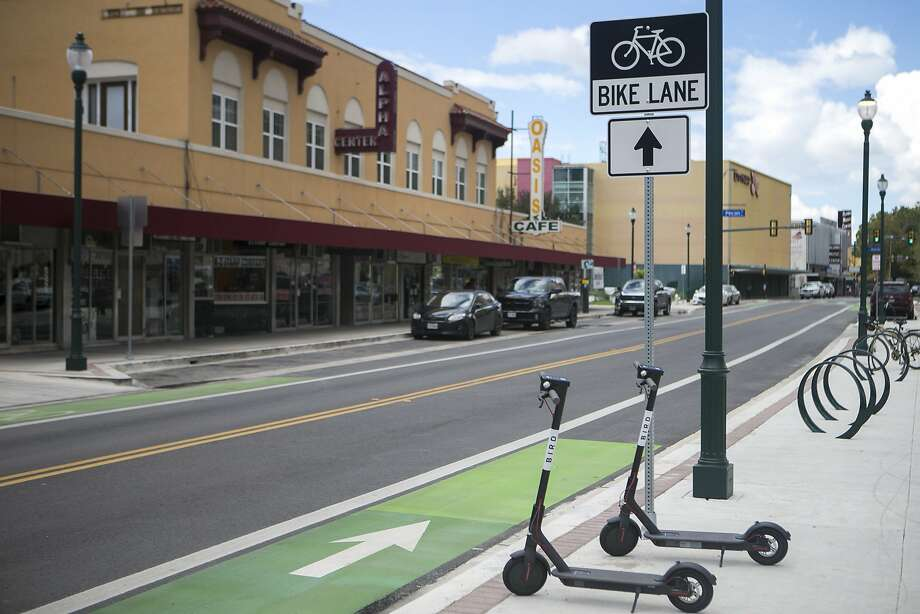 Bird e-scooters are the latest ride-sharing device to come to the Pacific Northwest, though for now just in Tacoma's pilot program. Photo: Josie Norris, San Antonio Express-News