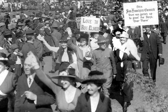 A crowd of 150,000 would gather in Golden Gate Park to pass before a motion picture camera in making a film of greetings and messages from relateves and friends   to Americans on the fighting front in France. The messages were proclaimed in banners and signs exhibited. This movie was conceived by Chronicle publisher M.H. DeYoung and film maker Thomas H. Ince.October 6, 1918