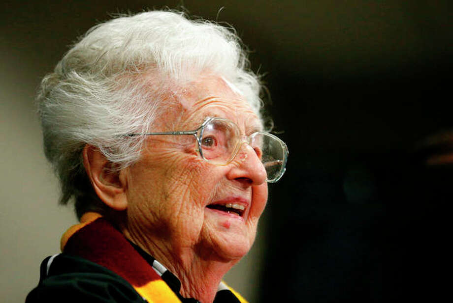 Loyola's Sister Jean Dolores Schmidt is the winner of Illinois' 2018 Senior Hall of Fame award. The Catholic nun and longtime chaplain of the Loyola-Chicago basketball team became a celebrity last March as the Ramblers reached the NCAA Final Four. In August she celebrated her 99th birthday. Photo: Brynn Anderson | AP