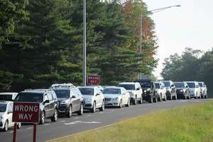 FILE PHOTO — Traffic backs up from the I-95 exit ramp southbound at Exit 3 in Greenwich, Conn. during the morning rush hour on Wednesday, Oct. 10, 2018.