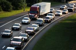 Heavy rush hour commuter traffic on I-84, in Newtown, Conn. Aug. 28, 2014.