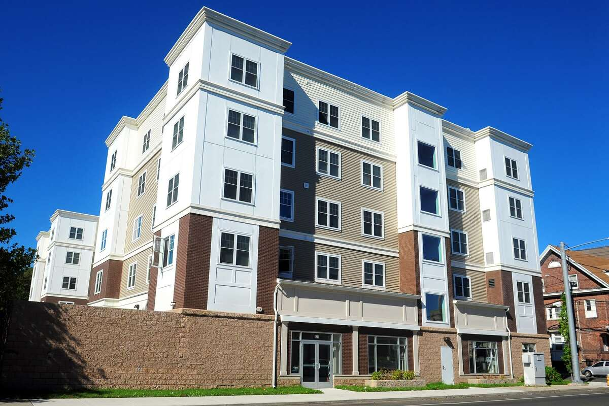 Thre recently completed Westgate Apartments, seen here at the corner of Fairfield and West Avenues, in Bridgeport, Conn. Oct 12, 2018.