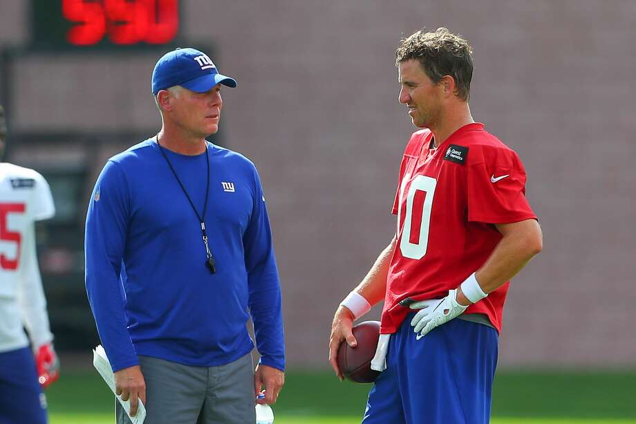 EAST RUTHERFORD, NJ - JULY 26:  New York Giants Head Coach Pat Shurmur talks  with New York Giants quarterback Eli Manning (10) during New York Giants Training Camp on July 26, 2018 at Quest Diagnostics Training Center in East Rutherford, NJ.  (Photo by Rich Graessle/Icon Sportswire via Getty Images) Photo: Icon Sportswire/Icon Sportswire Via Getty Images