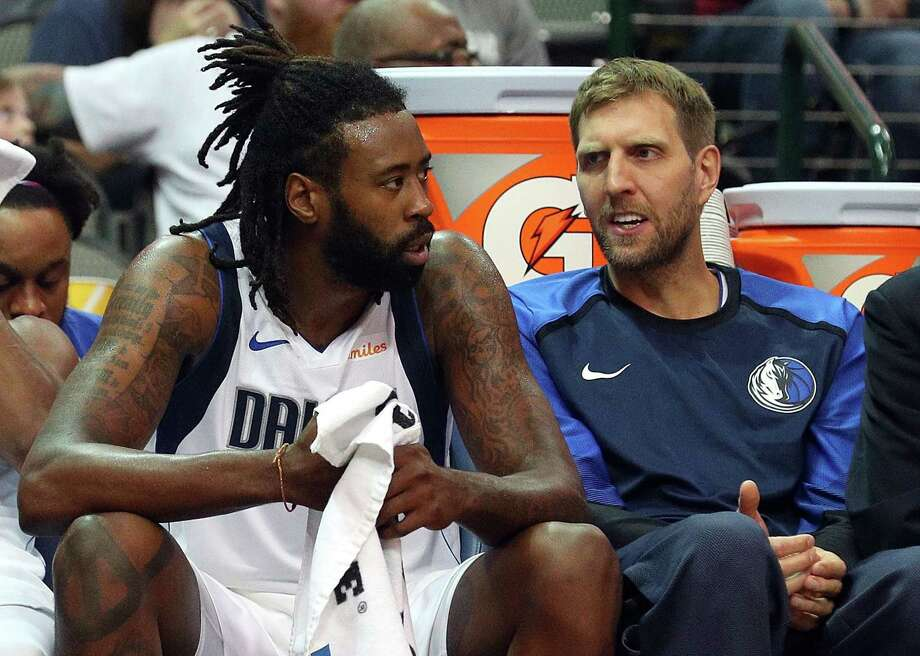 DALLAS, TX - SEPTEMBER 29:  DeAndre Jordan #6 and Dirk Nowitzki #41 of the Dallas Mavericks talk on the bench during a preseason game against the Beijing Ducks at American Airlines Center on September 29, 2018 in Dallas, Texas. Photo: Richard Rodriguez, Getty Images / 2018 Getty Images