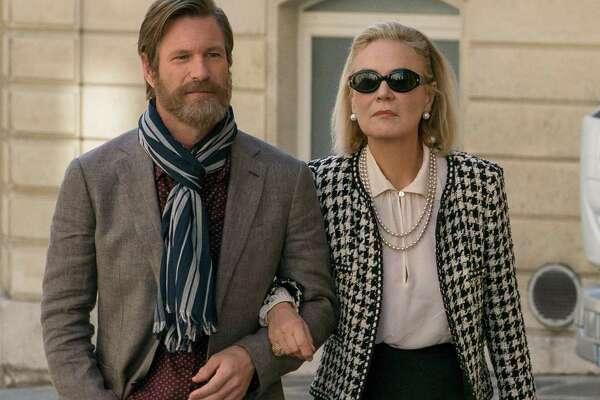 "Aaron Eckhart and Marthe Keller star in ""The Romanoffs."""