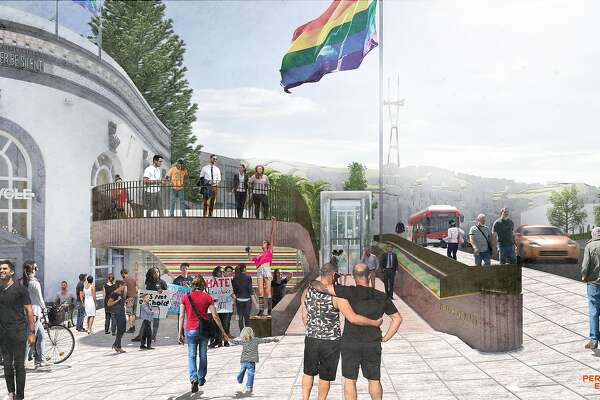 A rendering of the proposed design for Harvey Milk Plaza, which now serves primarily as the entrance to the Muni subway station at Castro and Market streets. The proposal is the result of a design competition organized by a neighborhood property-owners group, and would need to be reviewed and approved by city agencies.