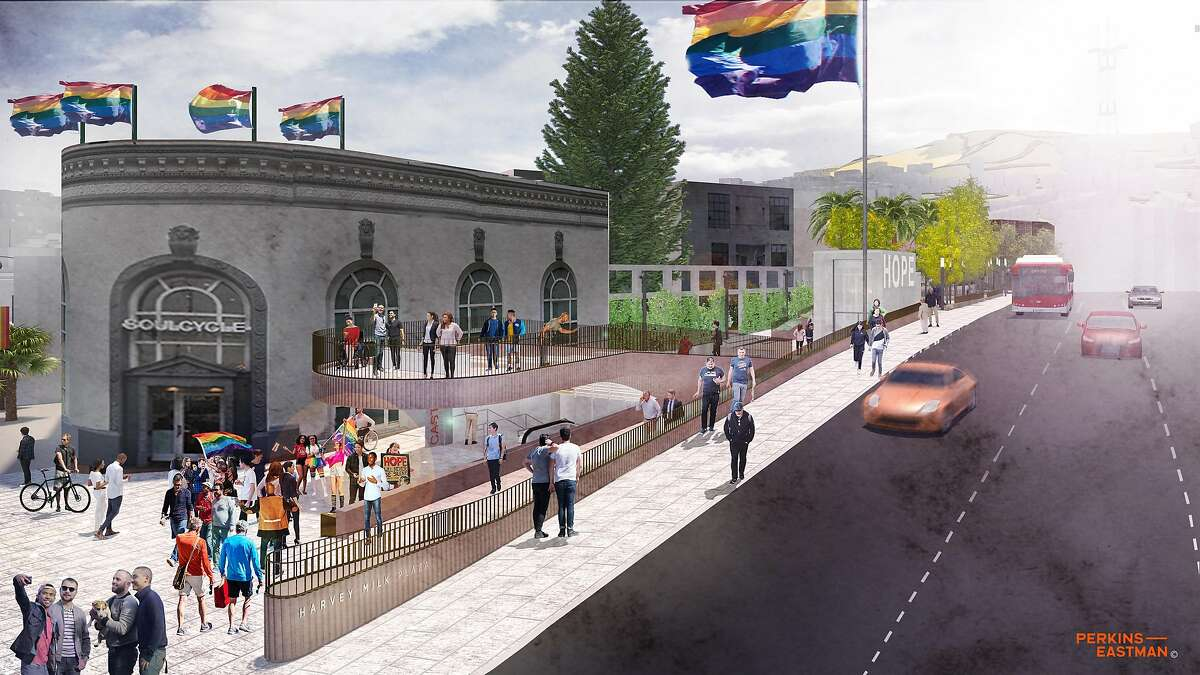 This now-discarded conceptual design for Harvey Milk Plaza, named for the slain activist, was unveiled in 2018.