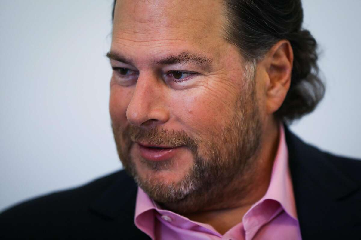 Salesforce CEO Marc Benioff speaks to the Chronicle during an interview at the World Economic Forum Centre in San Francisco, California, on Thursday Sept. 13, 2018.