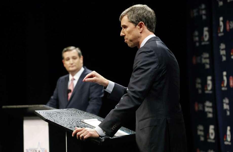 Republican U.S. Sen. Ted Cruz, left, and Democratic U.S. Rep.  Beto O'Rourke debate in Dallas. Readers discuss a recent O'Rourke-Brett Kavanaugh comparison. Photo: Tom Fox /Associated Press / The Dallas Morning News