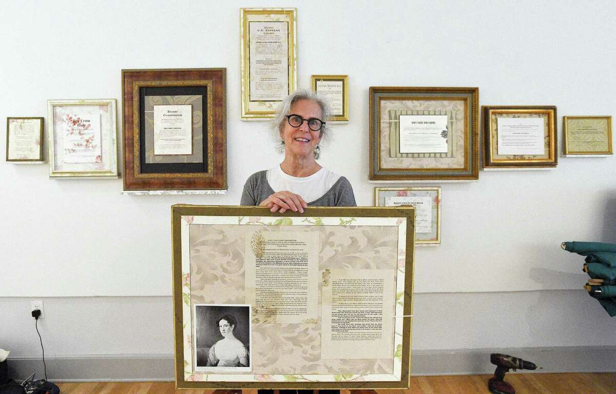 """Shelby Head, an artist from Maddison, Conn. is photograph on Oct. 11, 2018 at Fernando Alvarez Gallery in Stamford, Connecticut. Head's solo exhibition, """"An Infrastructure of Silence,"""" officially opens on Saturday, Oct. 13. An Infrastructure of Silence is described as a collection of works that deals with institutional racism in America. Head explores her family's """"shameful ancestral roots"""" as slave owners in the exhibit, which features images of Head's ancestors and parents. The exhibition will run through Nov. 17."""