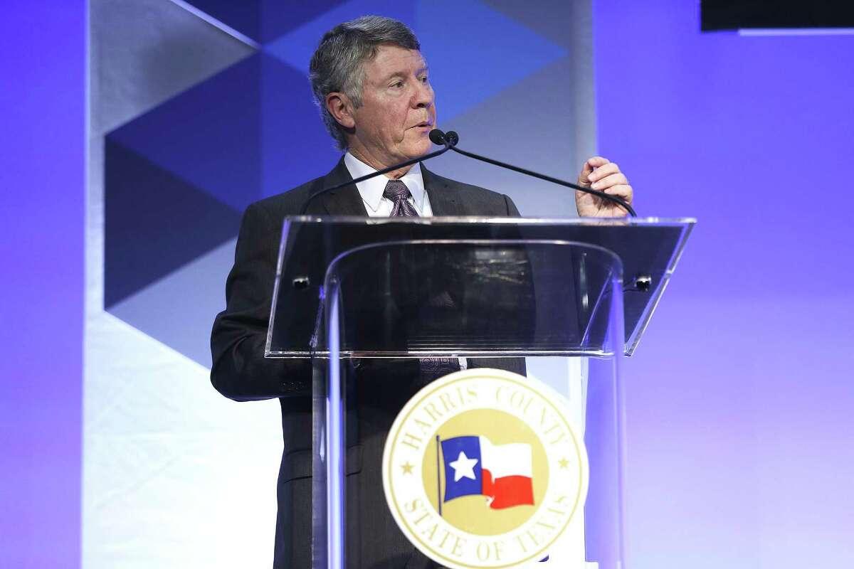 Harris County Judge Ed Emmett addresses attendees of the Greater Houston Partnership's State of County luncheon on Thursday, September 13, 2018 at NRG Center in Houston.