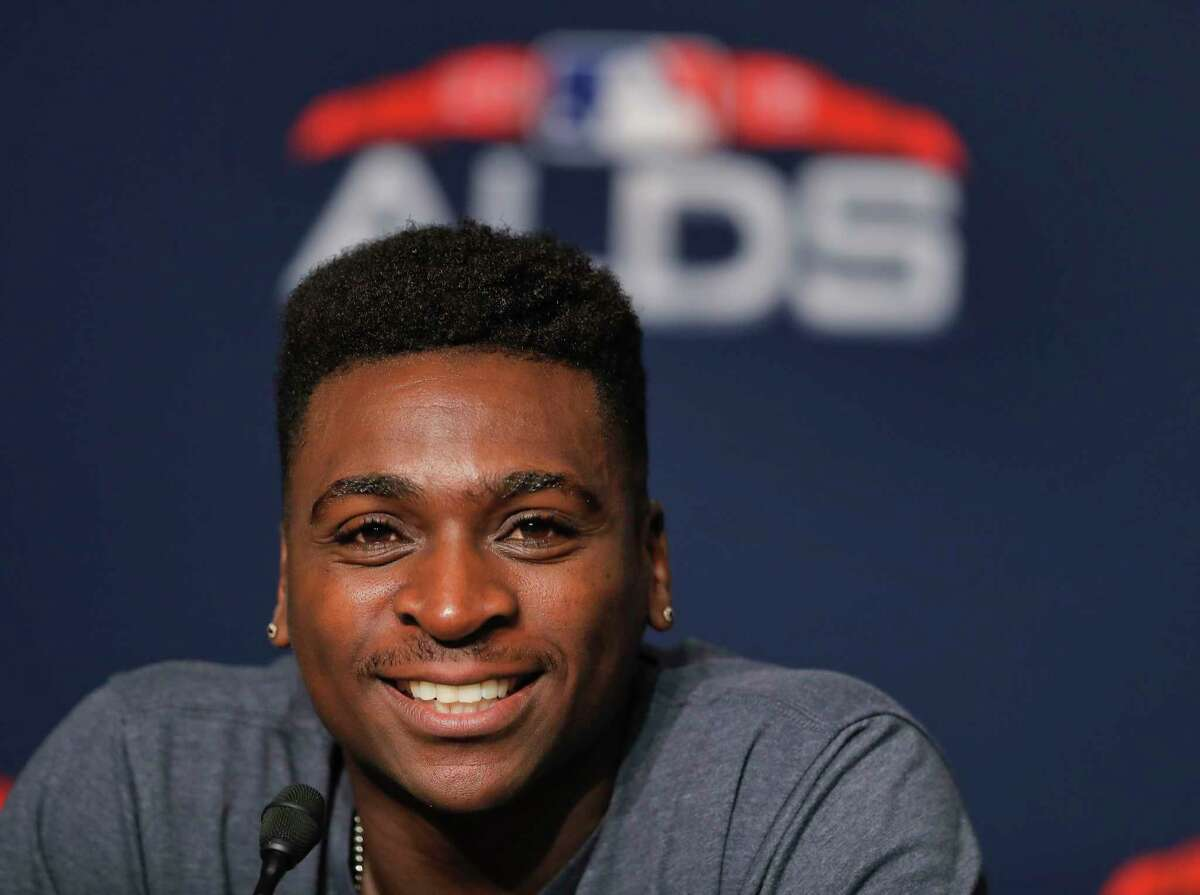 New York Yankees shortstop Didi Gregorius answers questions during a news conference, Sunday, Oct. 7, 2018, in New York. The Yankees will play against the Boston Red Sox in Game 3 of the AL Division Series on Monday. (AP Photo/Julie Jacobson)