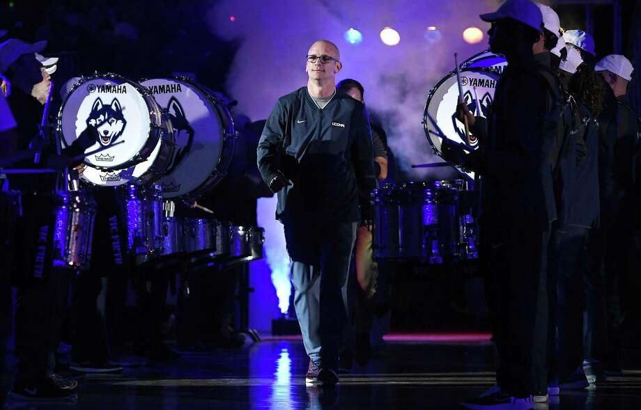 UConn men's basketball coach Dan Hurley is introduced during the university's annual First Night event in Storrs. Photo: Jessica Hill / Associated Press / Copyright 2018 The Associated Press. All rights reserved