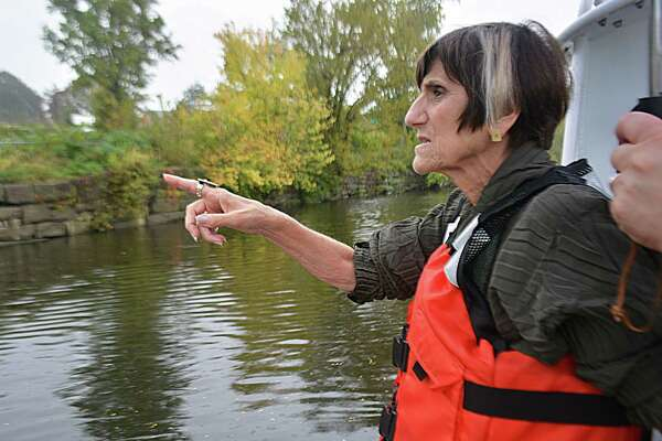 U.S. Rep. Rosa DeLauro, D-3, toured the crumbling seawall at Harbor Park in Middletown Thursday afternoon. The 200-year-old, brownstone retaining wall, at risk of further sliding into the Connecticut River, was damaged in the aftermath of the severe thunderstorms in July.