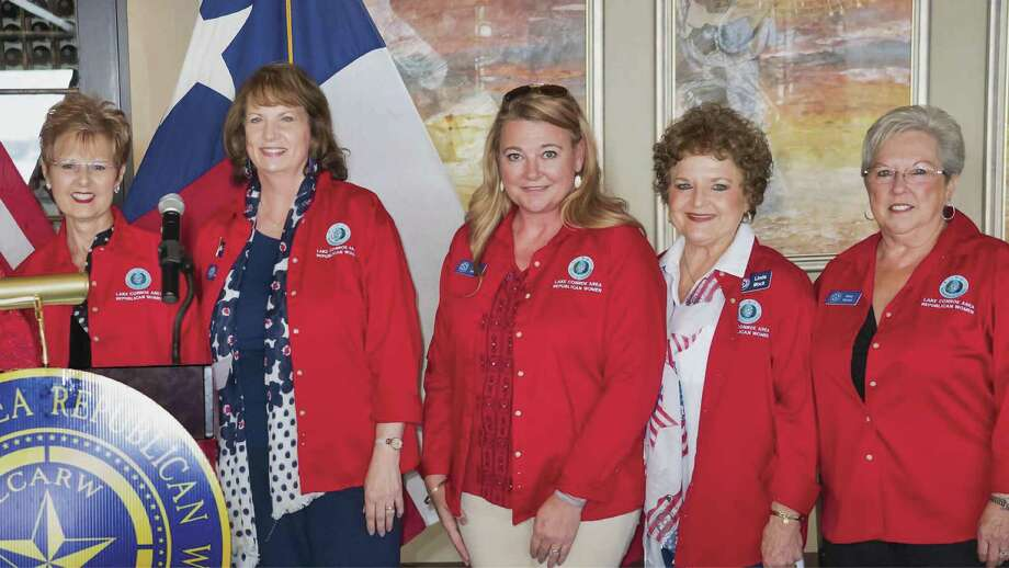 New Lake Conroe Area Republican Women officers were recently elected for 2019 term. Pictured here, left to right, President Belinda Lambright, First Vice-President for Programs Sheri Hummer, Second Vice-President for Membership Tammy Seiter, Third Vice-President for Ways and Means Linda Mock, Recording Secretary Neda Henery and Treasurer Harriet Kerr (not pictured).