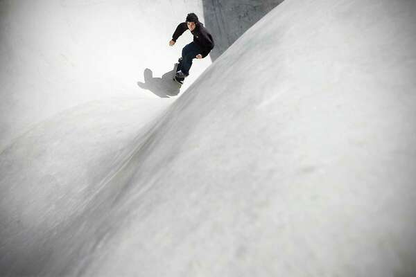 Jon Bonaldo takes a ride in the skate park at Scalzi Park on Oct. 14, 2009.