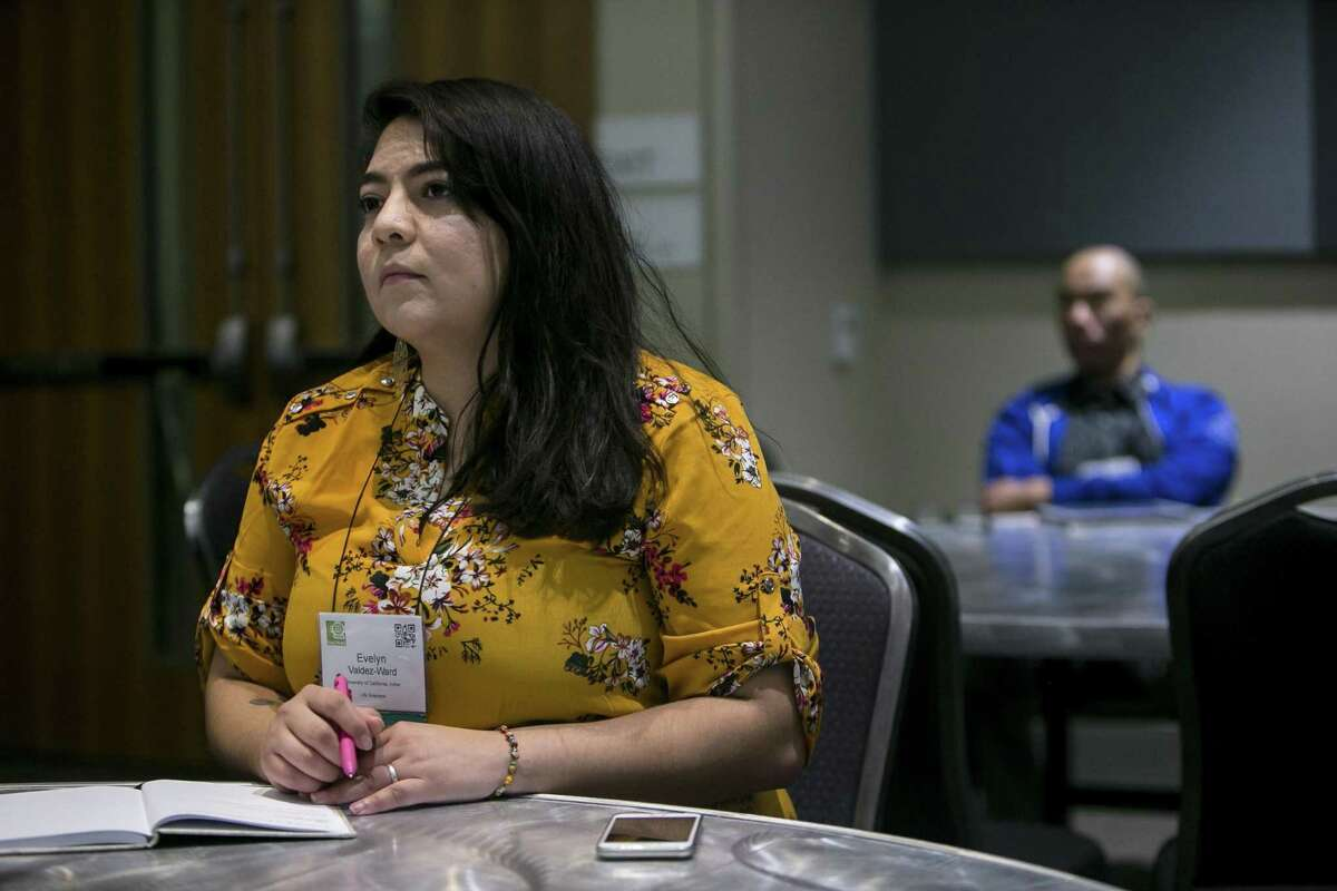 Graduate student and DACA activist and advocate Elizabeth Valdez-Ward listens to a presentation at the 45th annual National Diversity in STEM Conference, sponsored by the Society for the Advancement of Chicanos/Hispanic & Native Americans in Science at Henry B. Gonzalez Convention Center, Friday, Oct. 12, 2018. The organization's mission of inclusion, including the undocumented and LGBT population in Texas.