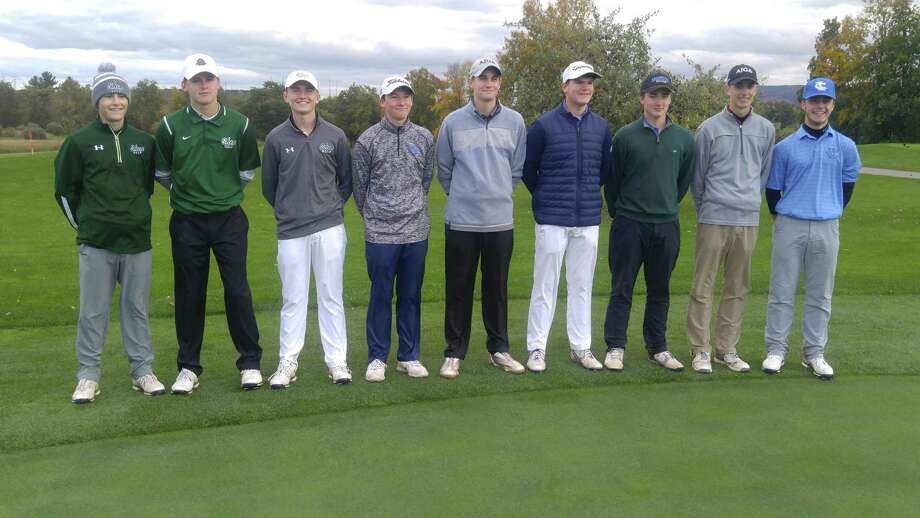 Golfers who qualified at Orchard Creek on Friday for the state tournament from Section II include, from left, Mike Westfall of Shenendehowa, Jack Manning of Shenendehowa, Paul Goetz of Shenendehowa, medalist Nolan Crowley of Saratoga Springs, AJ Cavotta of Saratoga Springs, Ryan Bloomer of Hoosick Falls, Matt Smith of Hoosick Falls, Aidan Seery of Guilderland and Trevor Wolfe of Ichabod Crane. Crowley, Goetz, Bloomer and Seery also qualified last year. (Pete Dougherty / Times Union)
