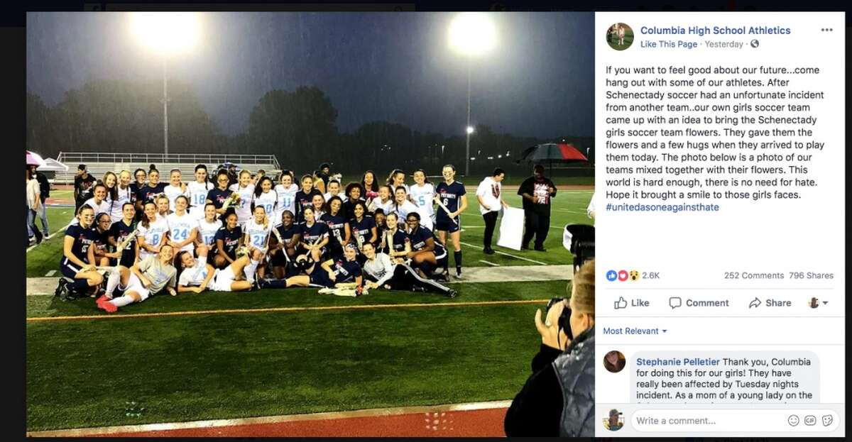 A screenshot of a Facebook post from Columbia High School's Athletics page regarding the girls' soccer team's outreach to Schenectady on Thursday, Oct. 11, 2018.