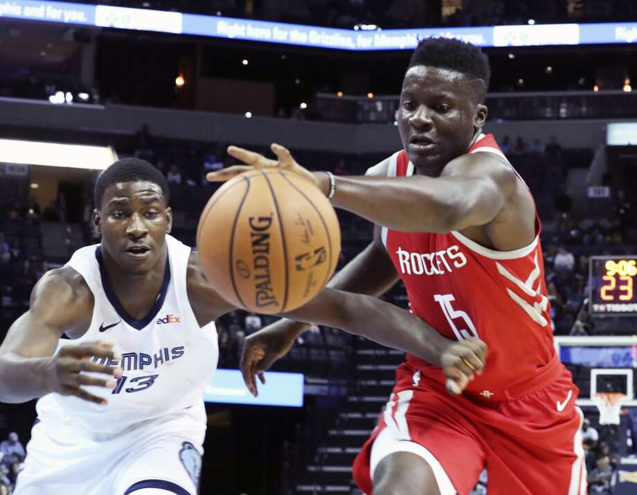 PHOTOS: Former Texas high school stars in the NBA Memphis Grizzlies' Jared Jackson Jr. (13) guards against Houston Rockets' Clint Capela (15) in the first half of a preseason NBA basketball game Friday, Oct. 12, 2018, in Memphis, Tenn. (AP Photo/Karen Pulfer Focht) >>>Browse through the gallery for a look atplayers on 2018-19 NBA rosters, who played high school basketball in the state of Texas ... Photo: Karen Pulfer Focht/Associated Press