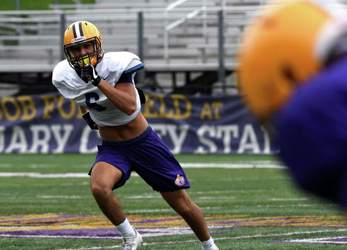 University at Albany safety, and former Troy High School player, Joe Casale takes part in a UAlbany football practice on Monday, Aug. 13, 2018, at Casey Stadium in Albany, N.Y. (Will Waldron/Times Union)