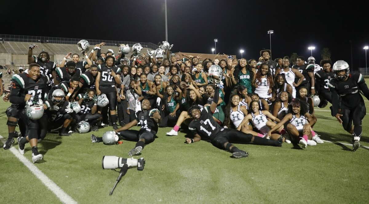 Hightower 24, Texas City 3 The Fort Bend Hightower Hurricanes celebrate after the high school football game between the Texas City Stingarees and the Fort Bend Hightower Hurricanes at Hall Stadium in Missouri City, TX on Friday, October 12, 2018. The Hurricanes defeated the Stingarees.