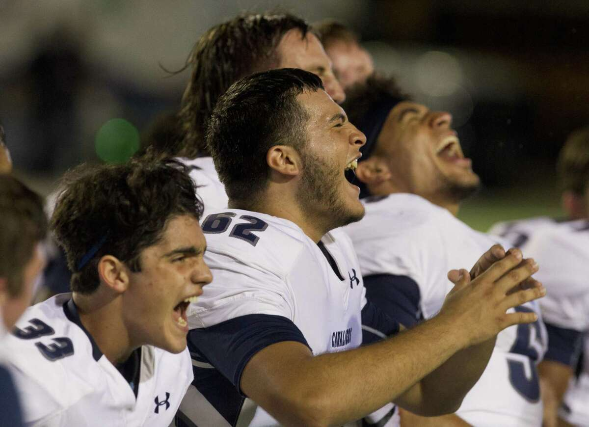 College Park players react after the team's 23-21 win over Oak Ridge during a District 15-6A high school football game at Woodforest Bank Stadium, Friday, Oct. 12. 2018, in Shenandoah.