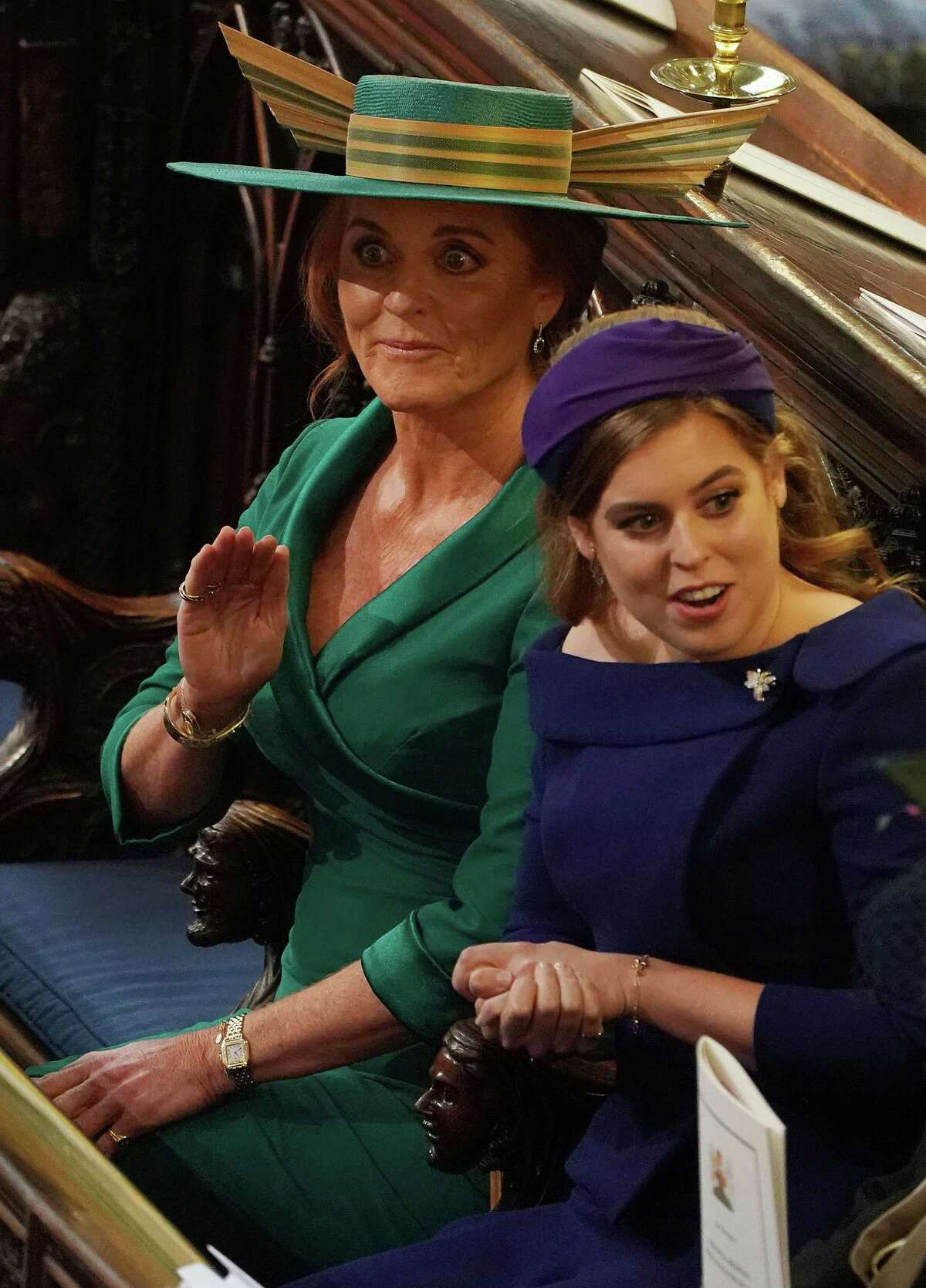 Sarah, Duchess of York, reacts during the wedding ceremony of Britain's Princess Eugenie of York to Jack Brooksbank at St George's Chapel, Windsor Castle, in Windsor, on October 12, 2018. (Photo by Owen Humphreys / POOL / AFP)OWEN HUMPHREYS/AFP/Getty Images