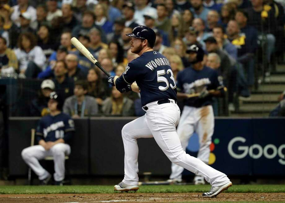 Milwaukee Brewers' Brandon Woodruff (53) hits a home run during the third inning of Game 1 of the National League Championship Series baseball game against the Los Angeles Dodgers Friday, Oct. 12, 2018, in Milwaukee. (AP Photo/Jeff Roberson) Photo: Jeff Roberson / Copyright 2018 The Associated Press. All rights reserved.