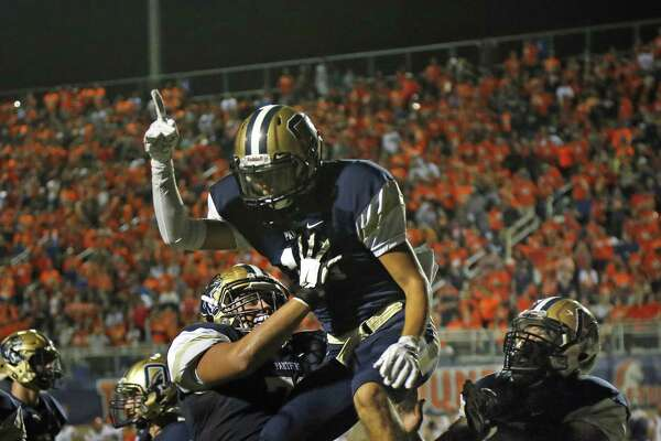 O'Connor Sam Castillo celebrates his TD reception to put O'Connor ahead at end of half 17-14. Brandeis vs. O?'Connor on Friday, October 12, 2018 at Farris Athletic Complex.