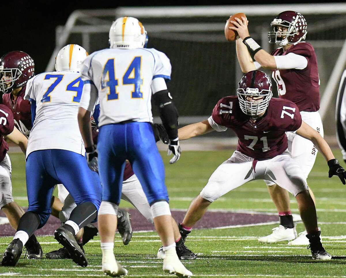 Victor Little (71) has been a staple of the Burnt Hills offensive and defensive lines for three seasons, and now tips the scales at 260 pounds. (Hans Pennink / Special to the Times Union)