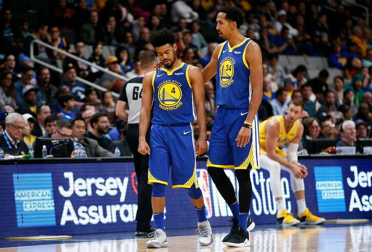 Golden State Warriors guard Quinn Cook (4) and guard Shaun Livingston (34) during the second half of an NBA preseason game at SAP Center on Friday, Oct. 12, 2018, in San Jose, Calif.