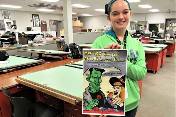 Alton High School student Olivia Joiner was named winner of the Alton-East End Improvement Association's annual Alton Halloween Parade poster contest, chosen by the association's parade committee last week ahead of the Oct. 31 parade. The freshman's drawing ability brought detail to the poster, as she free-handed the design before using newly-acquired photo editing to techniques to digitally enhance the work. Frankenstein, a witch, a moon, a night sky and Halloween candy along with textual elements took a little over a month for Joiner to illustrate.
