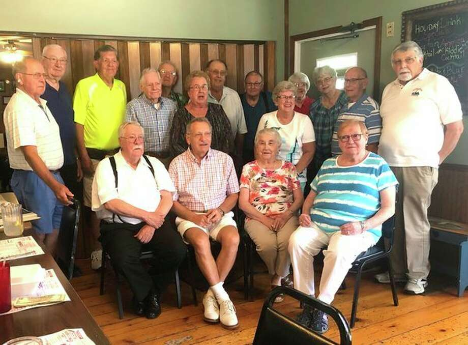 The Pigeon High School class of 1956recently held itsclass get together at The Bay Port Inn. Those present are (front row from left): Garth Gordon, Ron Diener, Lois Dast and Sheila (Sarrow) Williams; (Middle row): Don Wing, Noel (Schuette) Wichert and Betty (Power) Farver; (Back row): Bud McCormick, Ken Licht, Gerry LaMere, Vernon Kasserman, Kent Paul, Bob Ziel, Vivian (Buchholz) Buschlen, Karen Damm) Story, Clare Bechler and Clark Elftman. Not pictured was Joyce (Johnson) Pedler.(Submitted Photo)