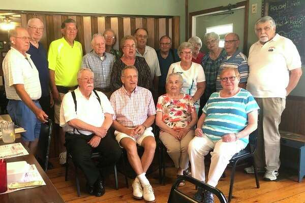 The Pigeon High School class of 1956 recently held its class get together at The Bay Port Inn. Those present are (front row from left): Garth Gordon, Ron Diener, Lois Dast and Sheila (Sarrow) Williams; (Middle row): Don Wing, Noel (Schuette) Wichert and Betty (Power) Farver; (Back row): Bud McCormick, Ken Licht, Gerry LaMere, Vernon Kasserman, Kent Paul, Bob Ziel, Vivian (Buchholz) Buschlen, Karen Damm) Story, Clare Bechler and Clark Elftman. Not pictured was Joyce (Johnson) Pedler. (Submitted Photo)