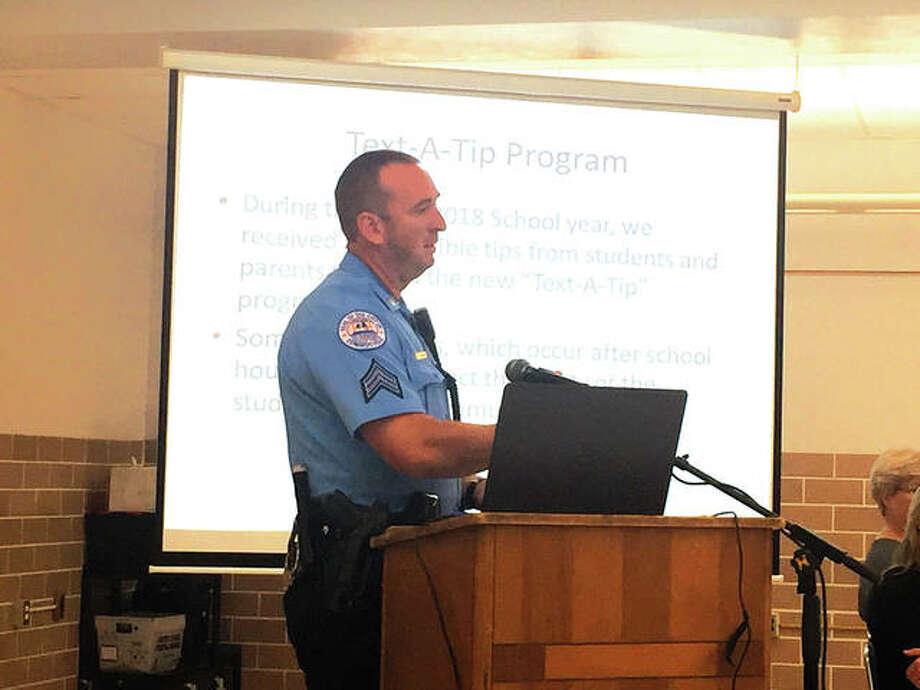 Sergeant Matt Breihan, Edwardsville Police Department SSO, speaks at the District 7 Board of Education meeting. Photo: Julia Biggs/Intelligencer