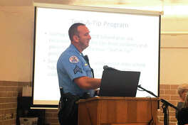 Sergeant Matt Breihan, Edwardsville Police Department SSO, speaks at the District 7 Board of Education meeting.