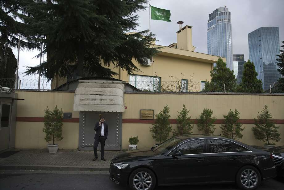 A man waits outside the Saudi Consulate in Istanbul. Jamal Khashoggi vanished after he walked into the consulate on Oct. 2. Saturday would have been his 60th birthday. Photo: Petros Giannakouris / Associated Press