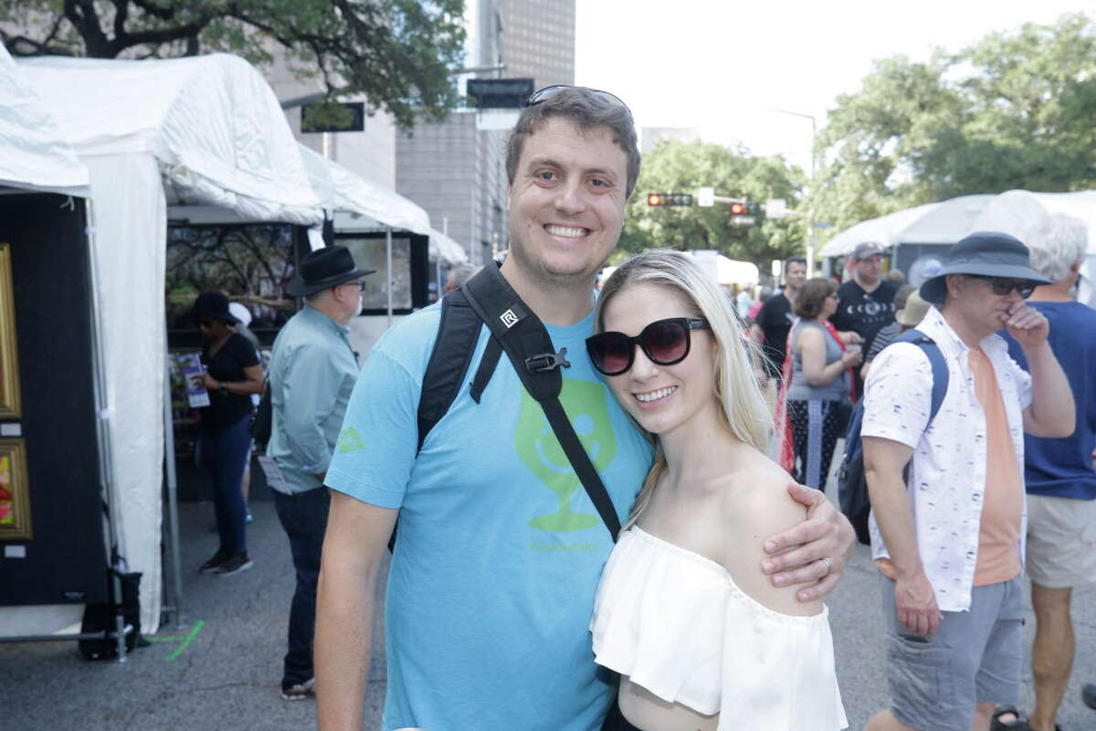 People attend the Bayou City Arts Festival held downtown Saturday, October 13, 2018 in Houston.