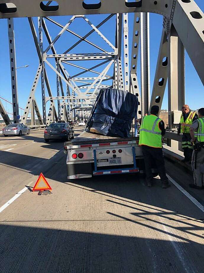 A big rig with a broken trailer Saturday morning shut down one eastbound lane on the Carquinez Bridge causing heavy traffic, officials said. Photo: California Highway Patrol