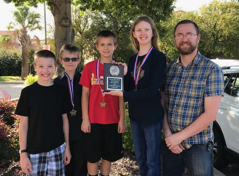 From left to right: Jeremiah DeLeon, Montana Moore, Dylan Stone, Eowyn Thornhill, and coach Chris Thornhill. Photo: Courtesy Photo