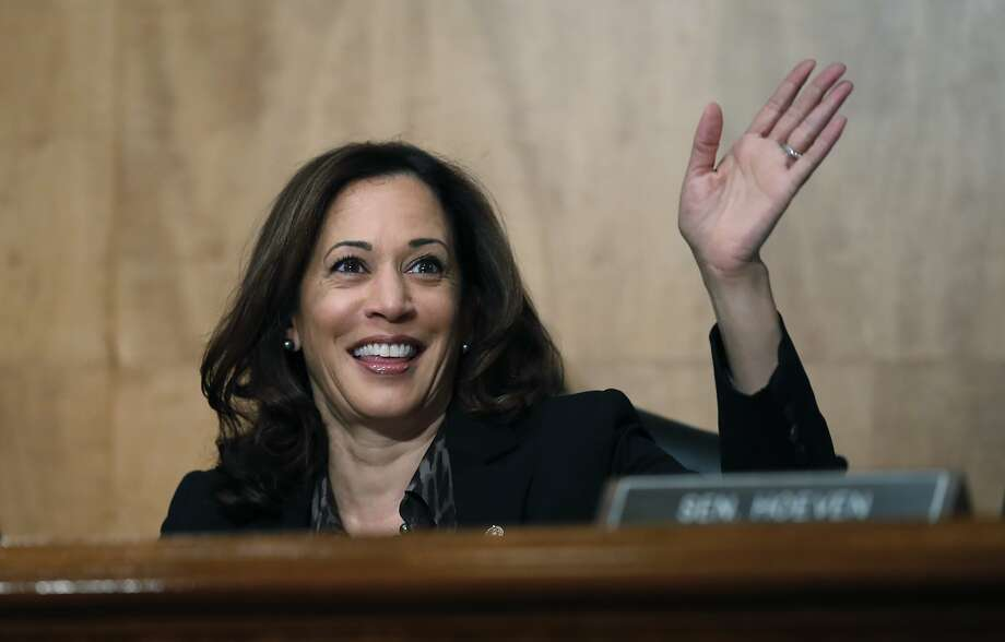 Sen. Kamala Harris, D-Calif., waves to another member of the committee during a hearing of the the Senate Committee on Homeland Security and Governmental Affairs for Steven D. Dillingham to be Director of the Census, on Capitol Hill, Wednesday, Oct. 3, 2018 in Washington. (AP Photo/Alex Brandon) Photo: Alex Brandon / Associated Press