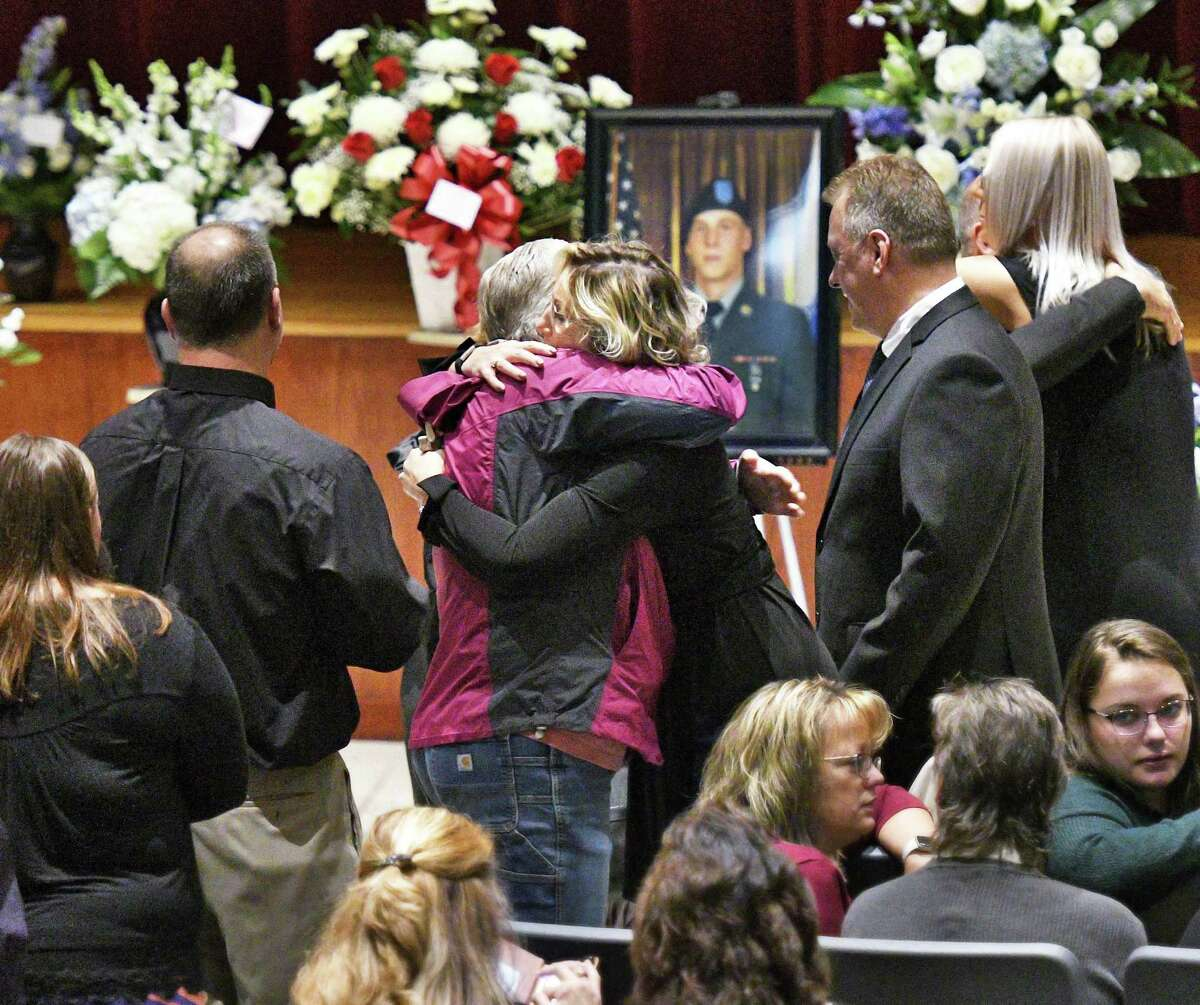 Mourners during services for Schoharie limo crash victim Matthew William Coons, 27, of Johnstown at Fonda Fultonville Central Schools Saturday Oct. 13, 2018 in Fonda, NY> (John Carl D'Annibale/Times Union)
