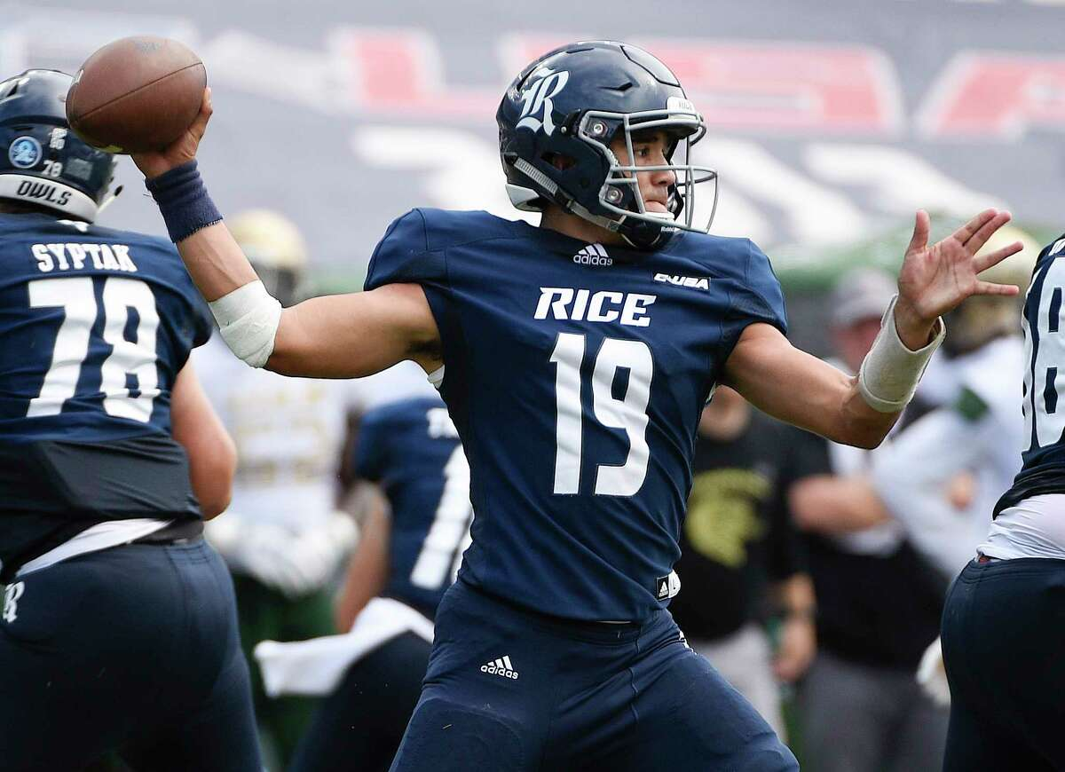 Rice quarterback Evan Marshman (19) throws a pass during the second half of an NCAA college football game against UAB, Saturday, Oct. 13, 2018, in Houston.