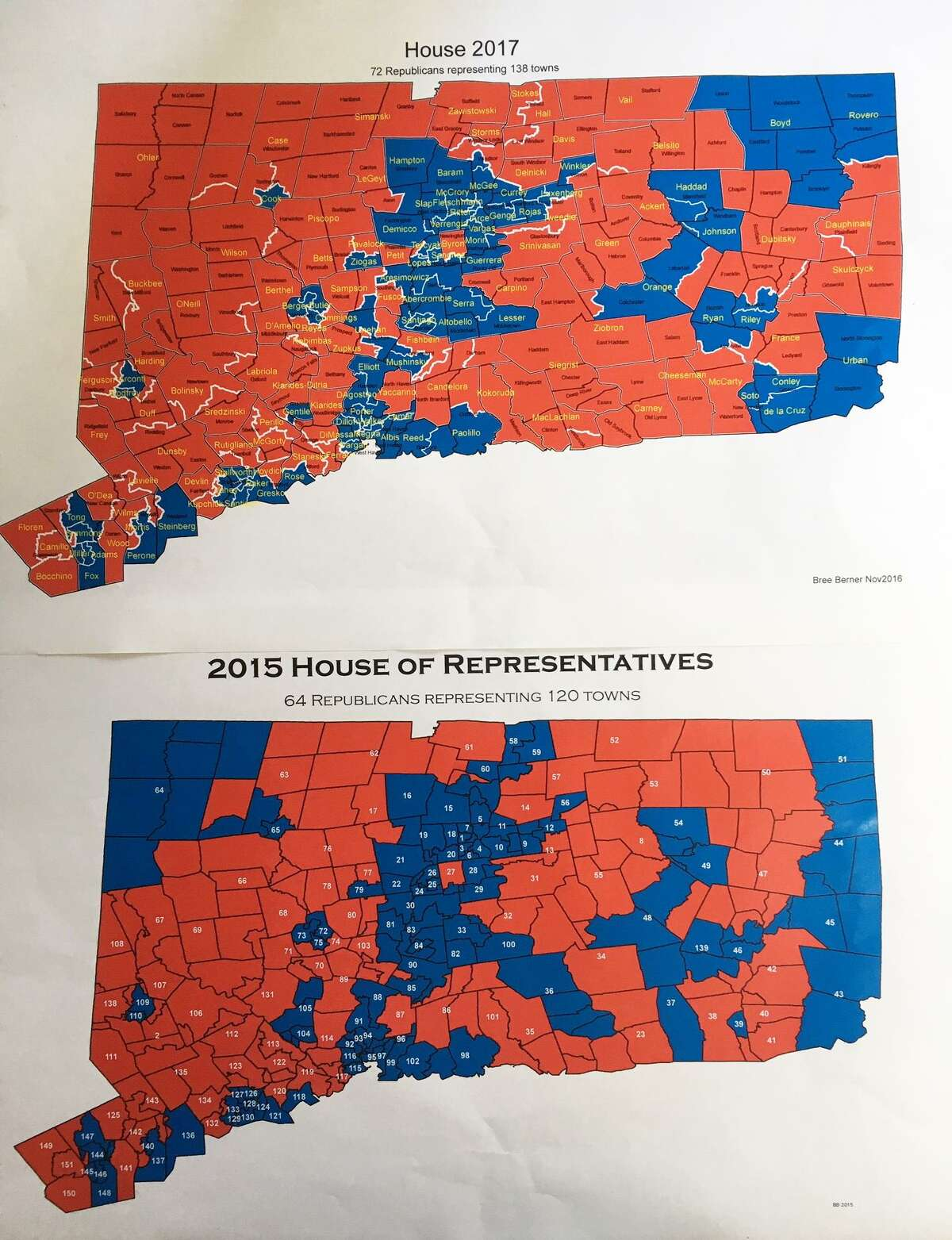 These maps, shared by House Republicans, show where Republicans made gains after the 2014 and 2016 elections. Republican seat are red, while Democratic seats are blue.